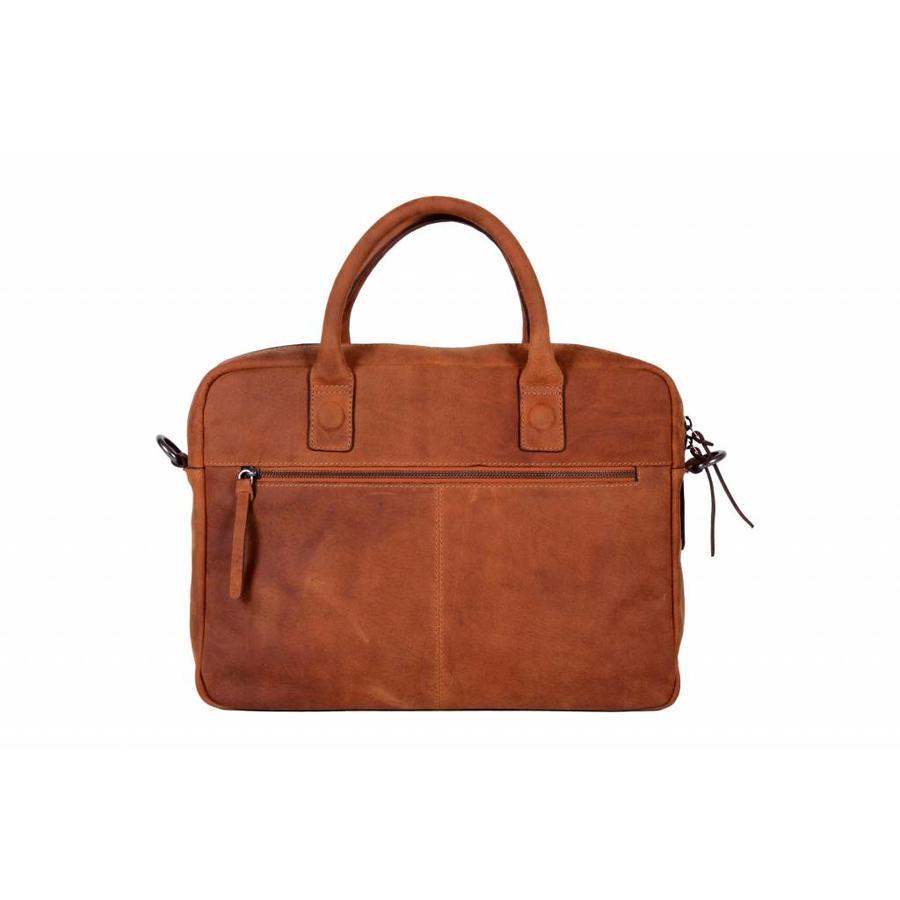 DSTRCT Wall Street 2-vaks Leren Business Laptoptas 15,4 inch Cognac