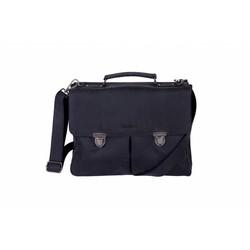 DSTRCT Wall Street A4 Leren Business Laptoptas 15,4 inch Black