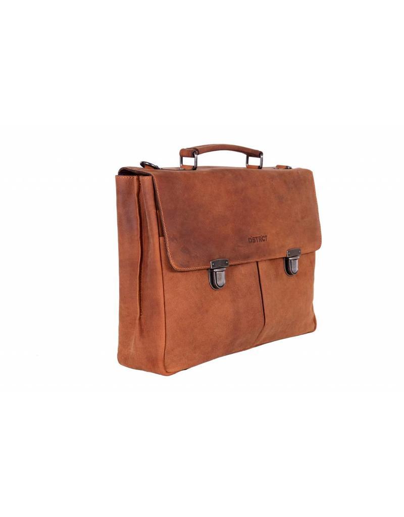 DSTRCT Wall Street A4 Leren Business Laptoptas 15,4 inch Cognac