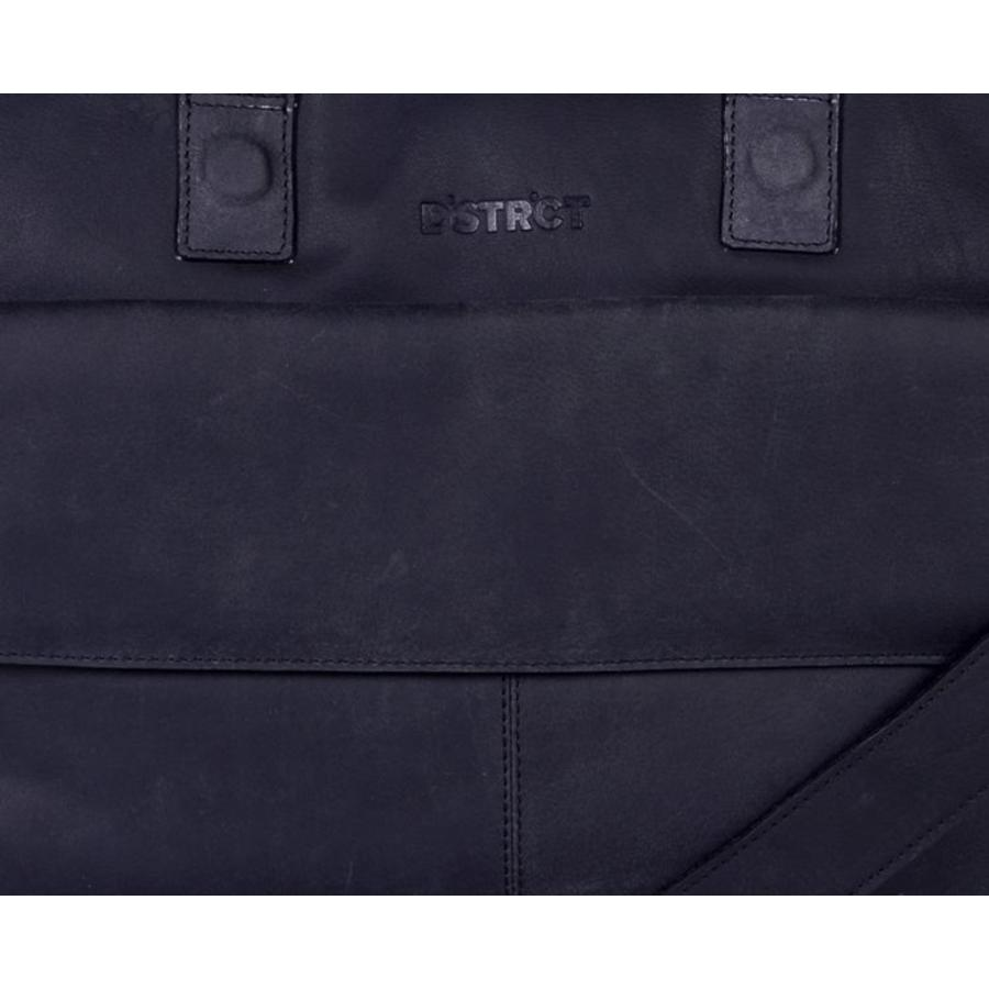 DSTRCT Wall Street Leren Business Laptoptas 17 inch Black
