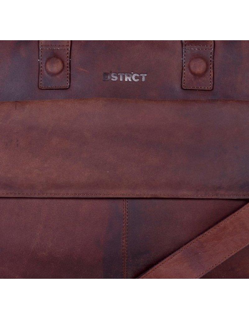 DSTRCT Wall Street Leren Business Laptoptas 17 inch Brown