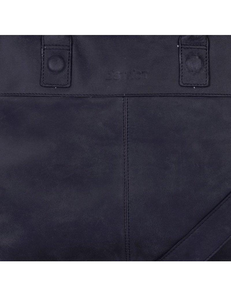DSTRCT Wall Street Leren Business Laptoptas 15,6 inch Black