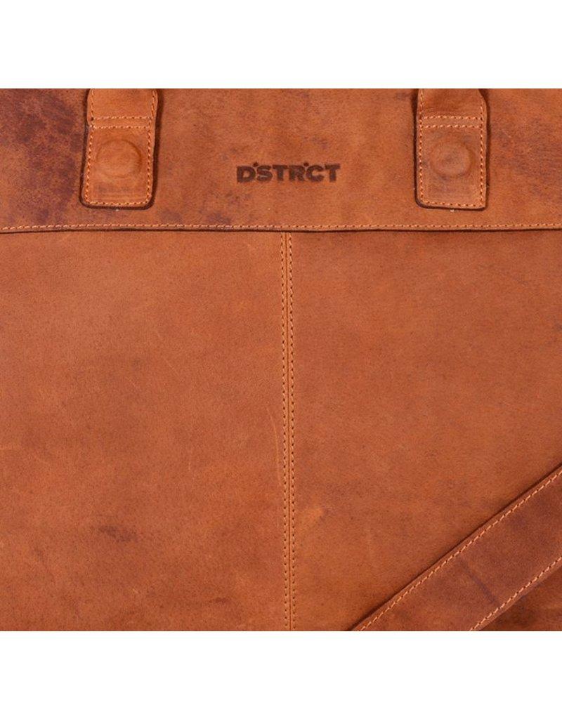 DSTRCT Wall Street Leren Business Laptoptas 15,6 inch Cognac