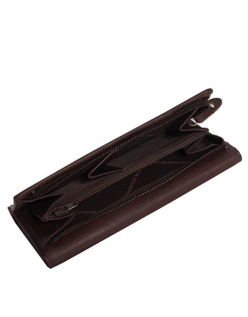 Chesterfield Overslag Leren dames portemonnee met ritsvak Ascot XL Bruin