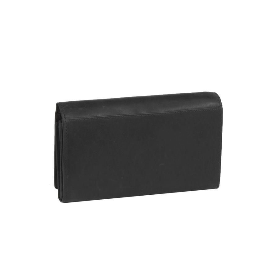 Chesterfield Overslag Leren dames portemonnee met ritsvakFrancis XL Zwart