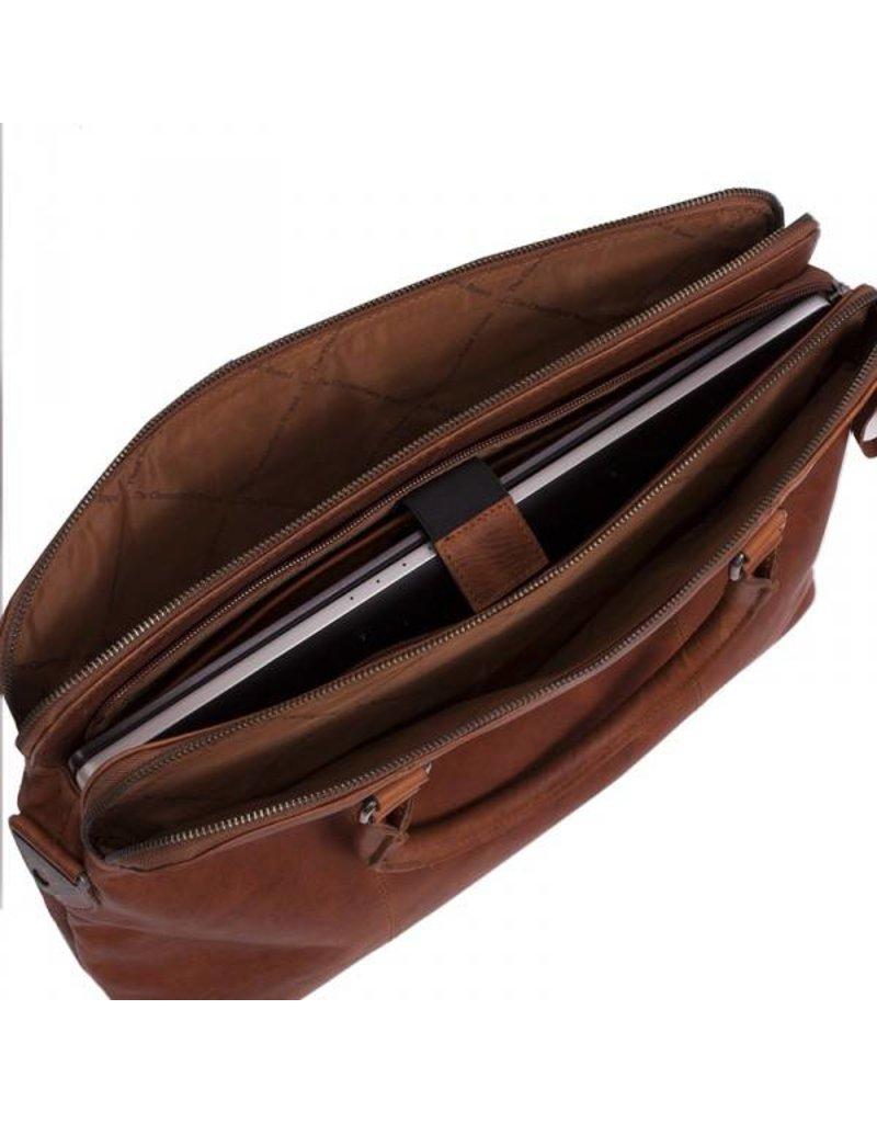 Chesterfield Leren 15 inch Dames Laptoptas Schoudertas Maria Cognac