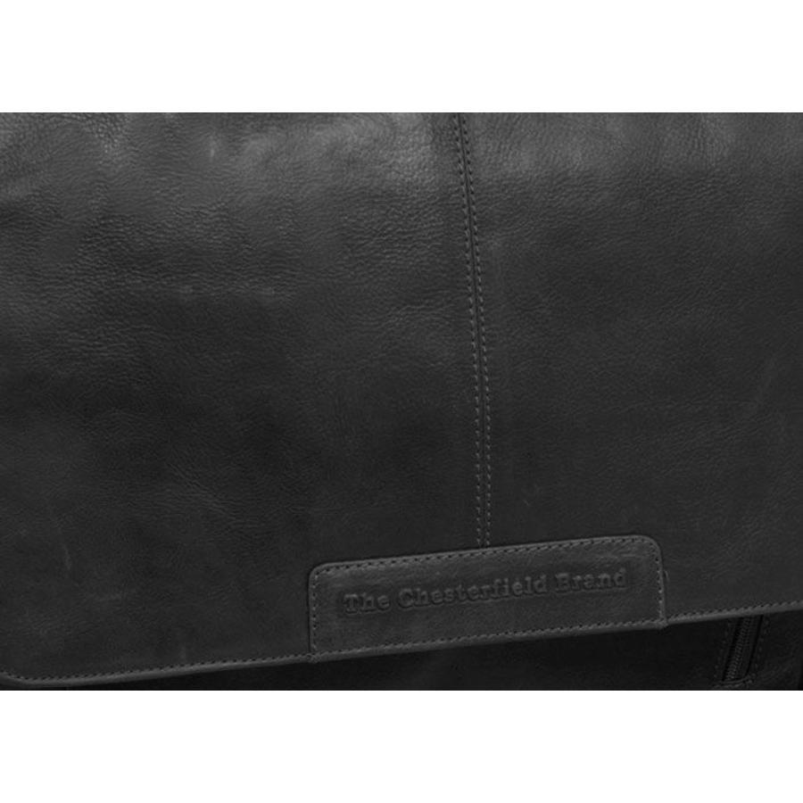 Chesterfield Leren Laptoptas 15,4 inch Schoudertas Richard Black