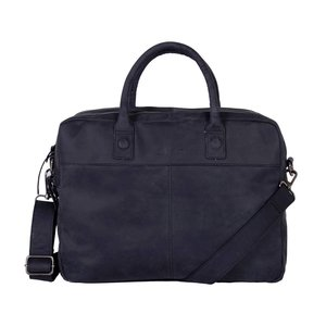 DSTRCT DSTRCT Wall Street Leren Business Laptoptas 15,6 inch Black