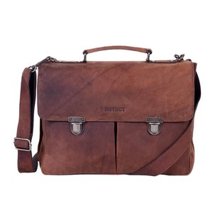 DSTRCT Wall Street A4 Leren Business Laptoptas 15,4 inch Brown