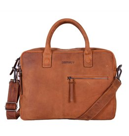 DSTRCT Wall Street 2-vaks Laptoptas 15,4 inch Cognac