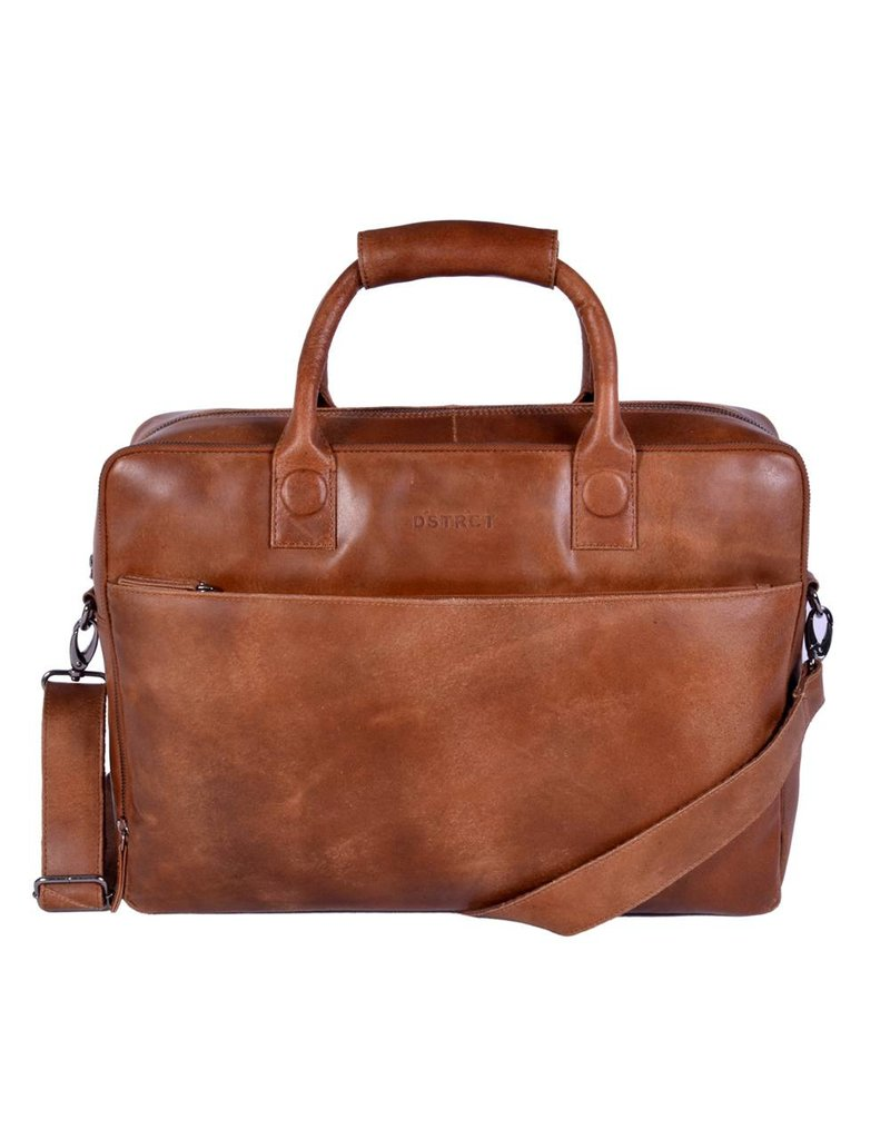 DSTRCT Fletcher Street Leren Business Laptoptas 17 inch Cognac