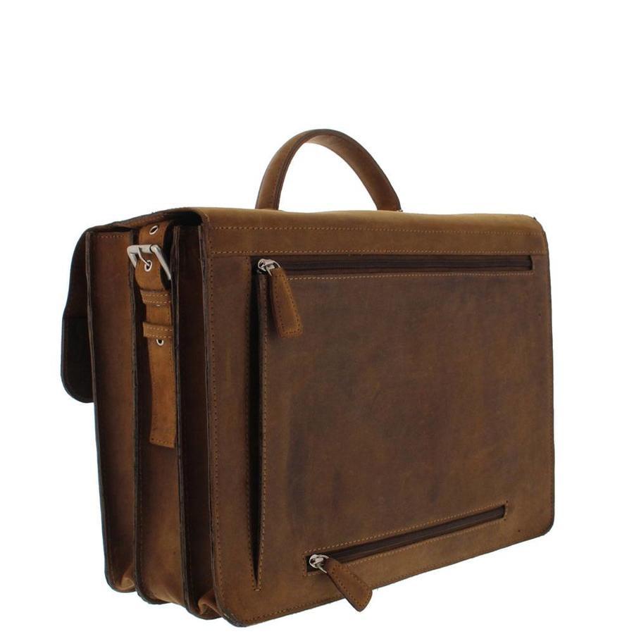 Plevier 3-vaks Laptoptas 15,6 inch Pull-up Leer Bruin