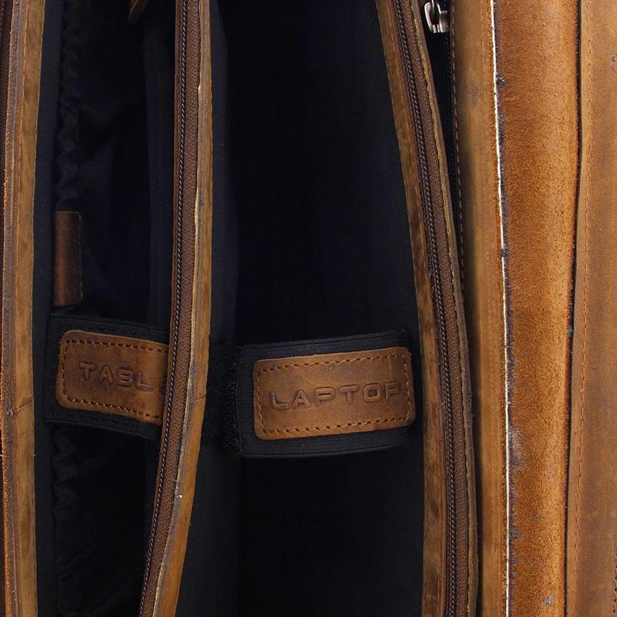 Plevier 3-vaks Laptoptas 15 inch Pull-up Leer Bruin