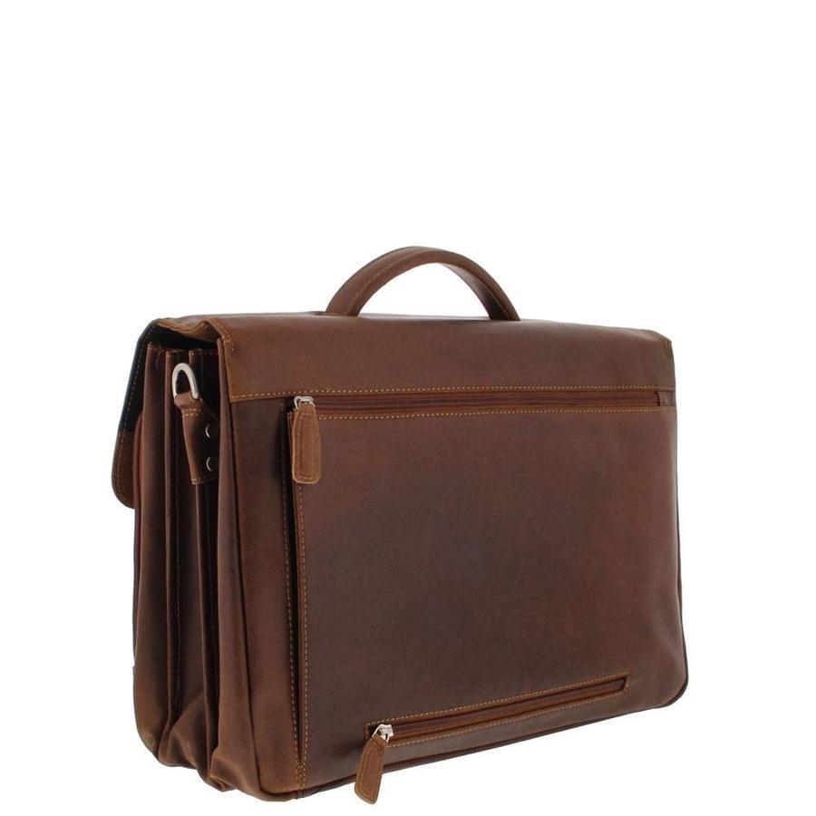 Plevier 3-vak Vintage Laptoptas 15,6 inch Bruin