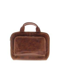 """Plevier Leren Laptop sleeve 14"""" Cognac"""