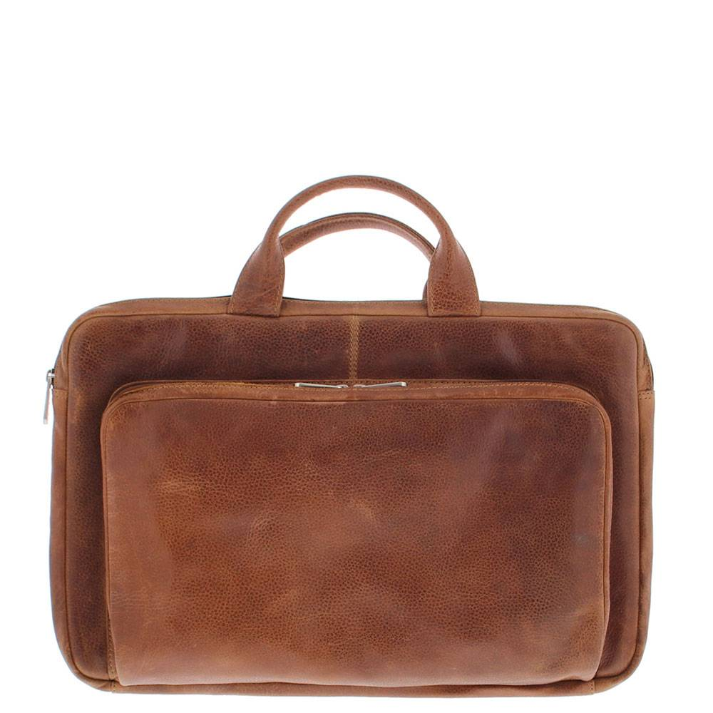 Plevier Leren Laptophoes 17,3 inch laptoptas Cognac