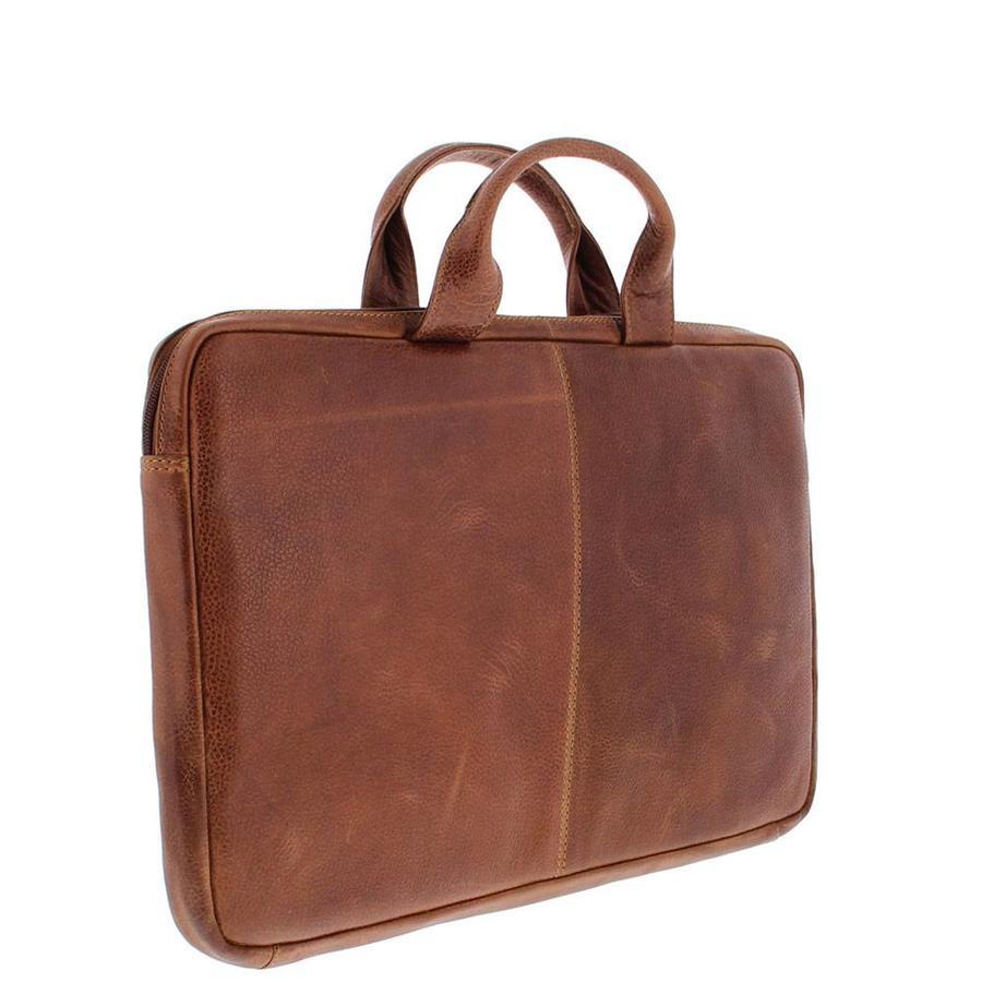 Plevier Leren Laptophoes  17,3 inch laptoptas Cognac