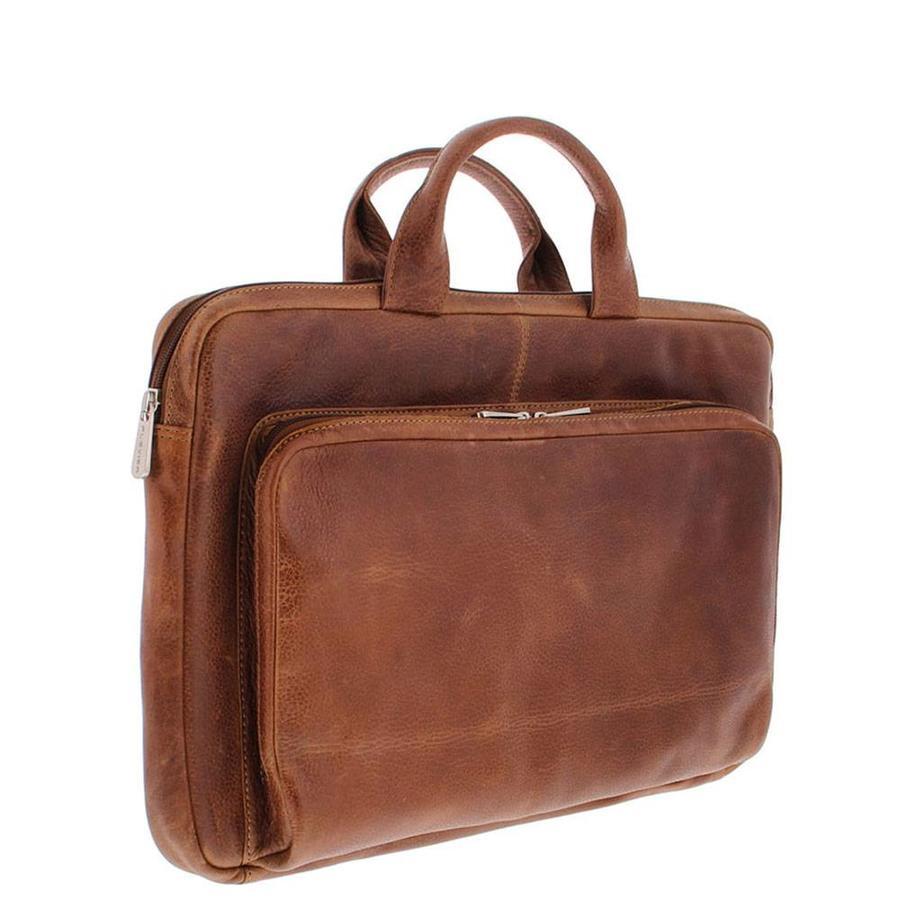 """Plevier Leren Laptophoes  17,3"""" laptop Cognac"""