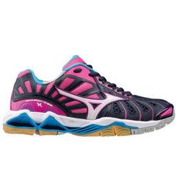 Mizuno Wave Tornado X roze blauw indoor schoenen dames