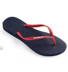 Havaianas Slim logo blauw rood slippers uni