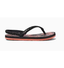 Reef Little Stargazer Prints zwart roze slippers meisjes