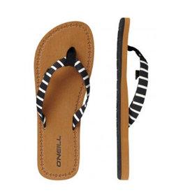 O'Neill FW Woven Strap zwart wit streep slippers dames