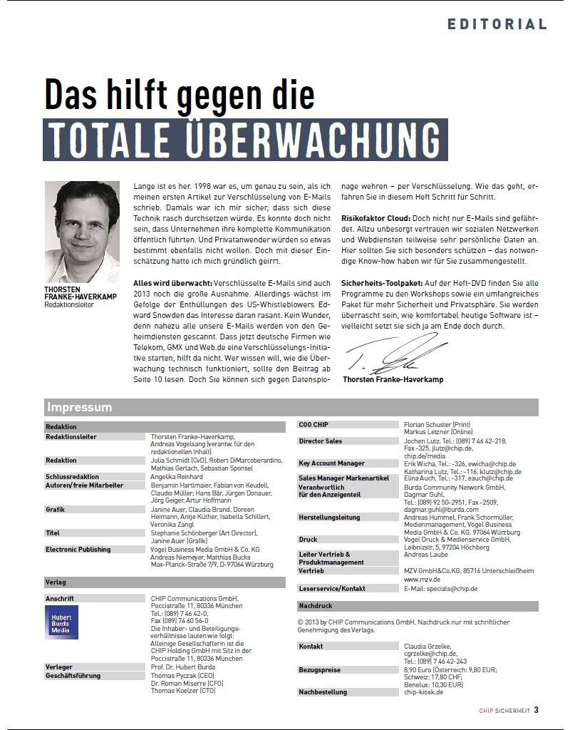 CHIP CHIP Sonderheft: CHIP Special - Spionage? Nein, danke!