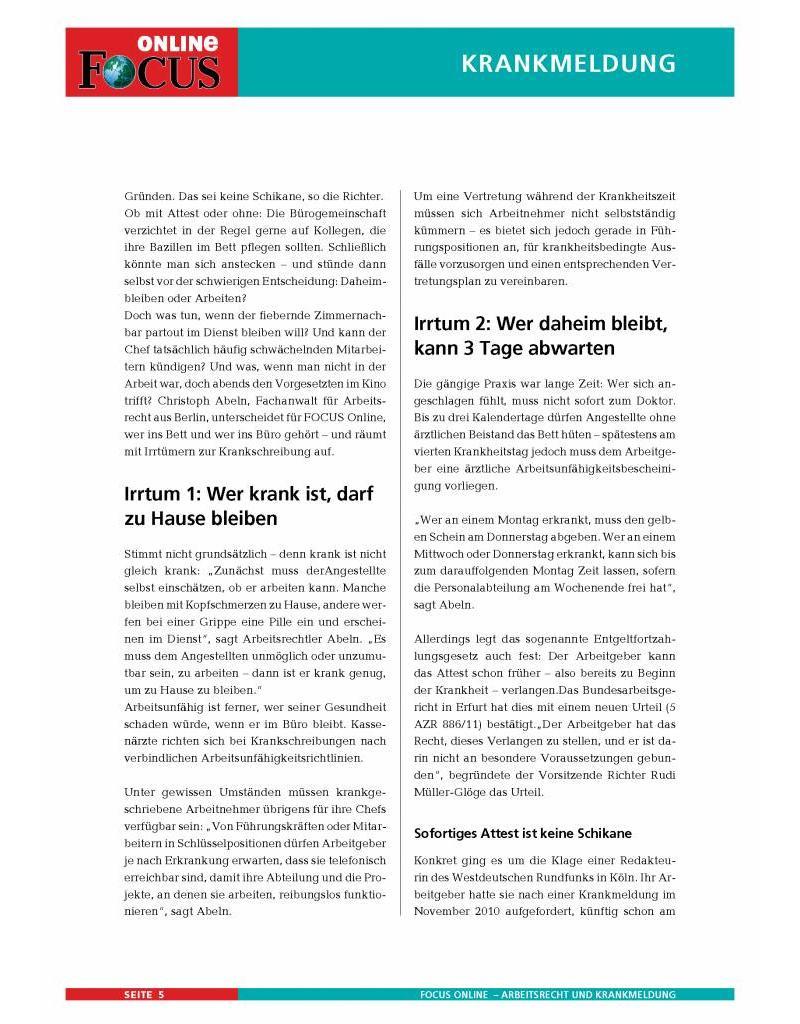 FOCUS Online Rechtlich korrekt im Krankheitsfall