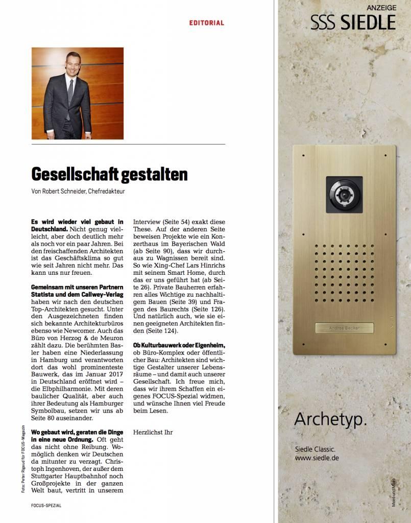 FOCUS Architekten-Spezial 2016: So wohnen wir morgen