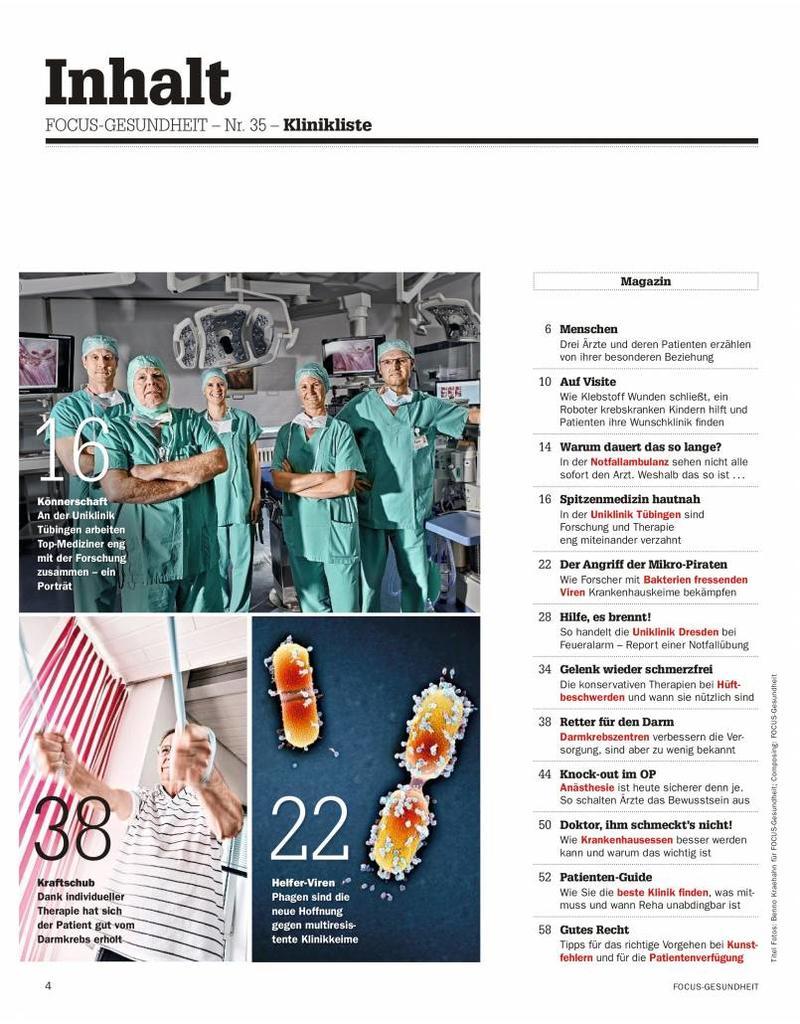 """FOCUS Focus Gesundheit """"Klinikliste 2017"""""""