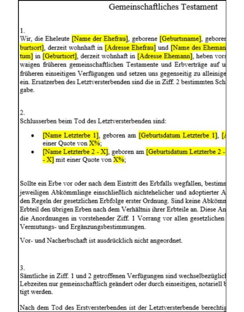 """FOCUS Online Gemein. Testament für kinderlose Paare (""""Berliner Testament"""")"""