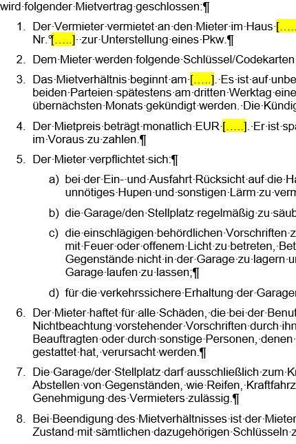 focus online vorlage mietvertrag fr garage und stellplatz - Mietvertrag Garage Muster