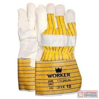 Majestic Werkhandschoenen - Nerfleer - Gerubberiseerde gele kap