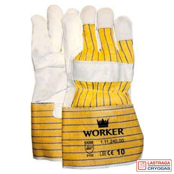 Werkhandschoenen - Nerfleer - Gerubberiseerde gele kap