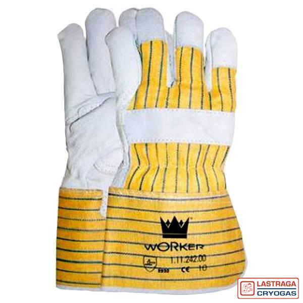 Werkhandschoenen - Nerfleer - Palmversterking - Gerubberiseerde gele kap