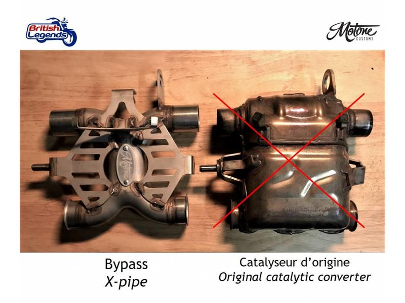 Motone Catalyst Converter Bypass Pipe on Triumph 900/1200cc Twins