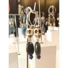 Jungle Skulls Pyrite Blue - oorbellen zilver