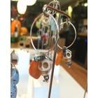 Jungle Skulls Orange Pearl - oorbellen zilver