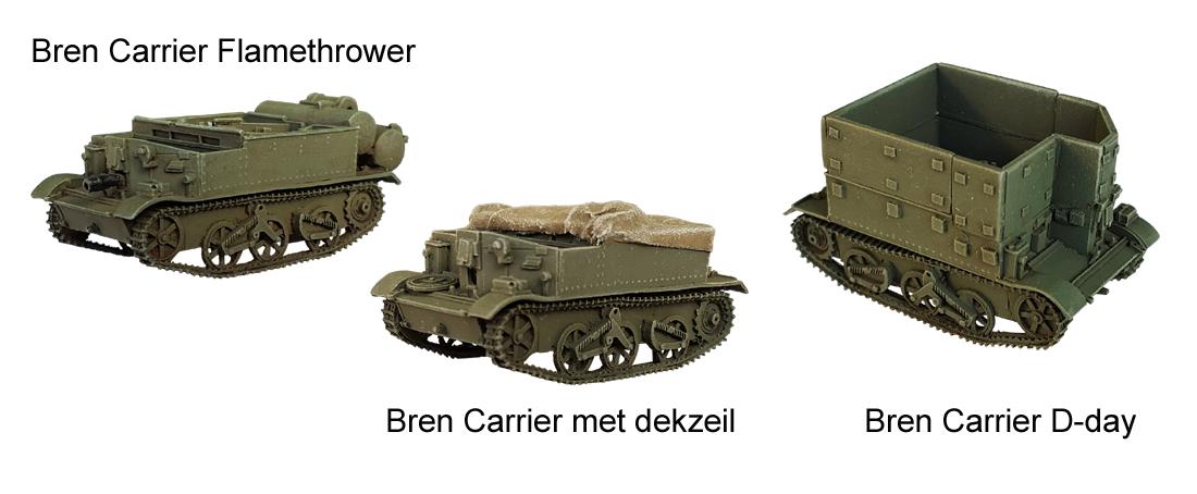 Bren Carrier Flamethrower  Bren Carrier met dekzeil  Bren Carrier D-day