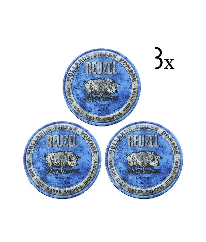 Reuzel Blue Strong Hold Pomade 3-pack