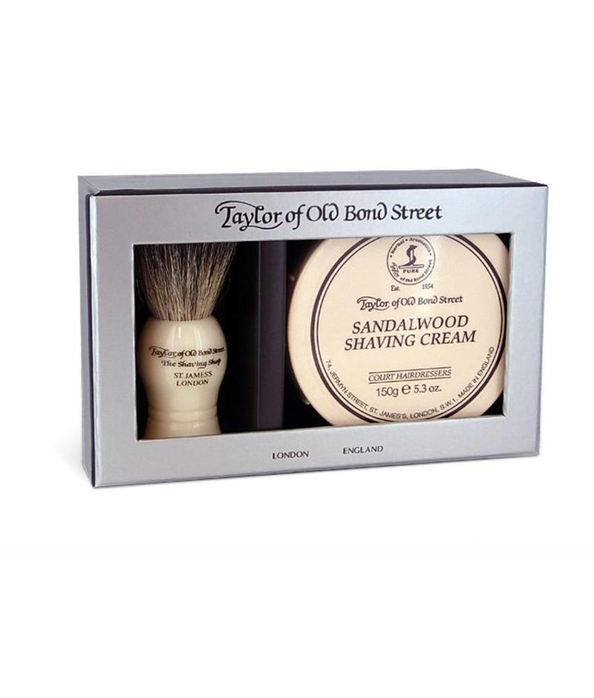 Taylor of Old Bond Street Giftbox Pure Badger & Shaving Cream Sandalwood