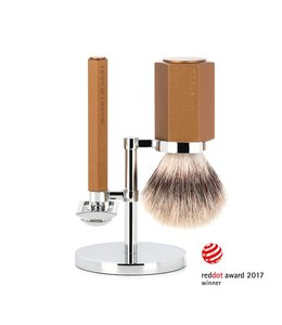 Muhle Hexagon Safety Razor Set - Silvertip Fibre - Bronze