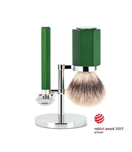 Muhle Hexagon Safety Razor Set - Silvertip Fibre - Forrest