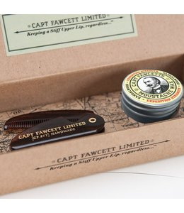 Captain Fawcett Moustache Wax / Comb Set - Extra Strenght