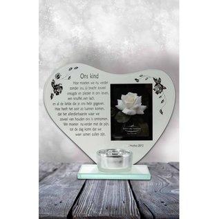 Waxinehouder hart met gedicht: Ons kind