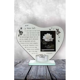 Waxinehouder hart met gedicht: Jouw lach