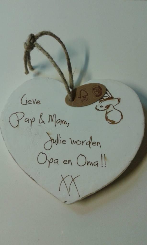 Geliefde Houten hartje: Lieve pap en mam, jullie worden opa en oma - Marreli &XY82