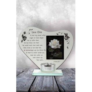 Waxinehouder Hart met gedicht lieve oma