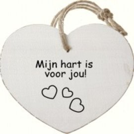 Houten hartje:Mijn hart is voor jou