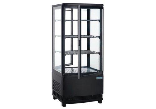 Polar Zwarte Gebaksvitrine met glazen deur | 86 liter